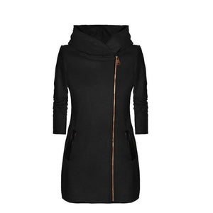 Autumn Winter Women Hooded Coat With Hat Long Sleeve Thicken Overcoat Warm Zipper Jacket Outwear H9
