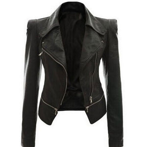 Jacket Women Winter Autumn Fashion Motorcycle Jacket Black faux leather coats Outerwear