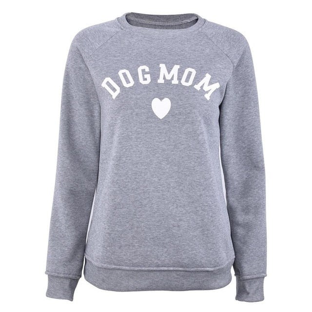 Dog Mom Long Sleeve Casual Sweatshirt Women's Print Fashionable Heart-shaped Print Kawaii Sweatshirt  Printing Pattern