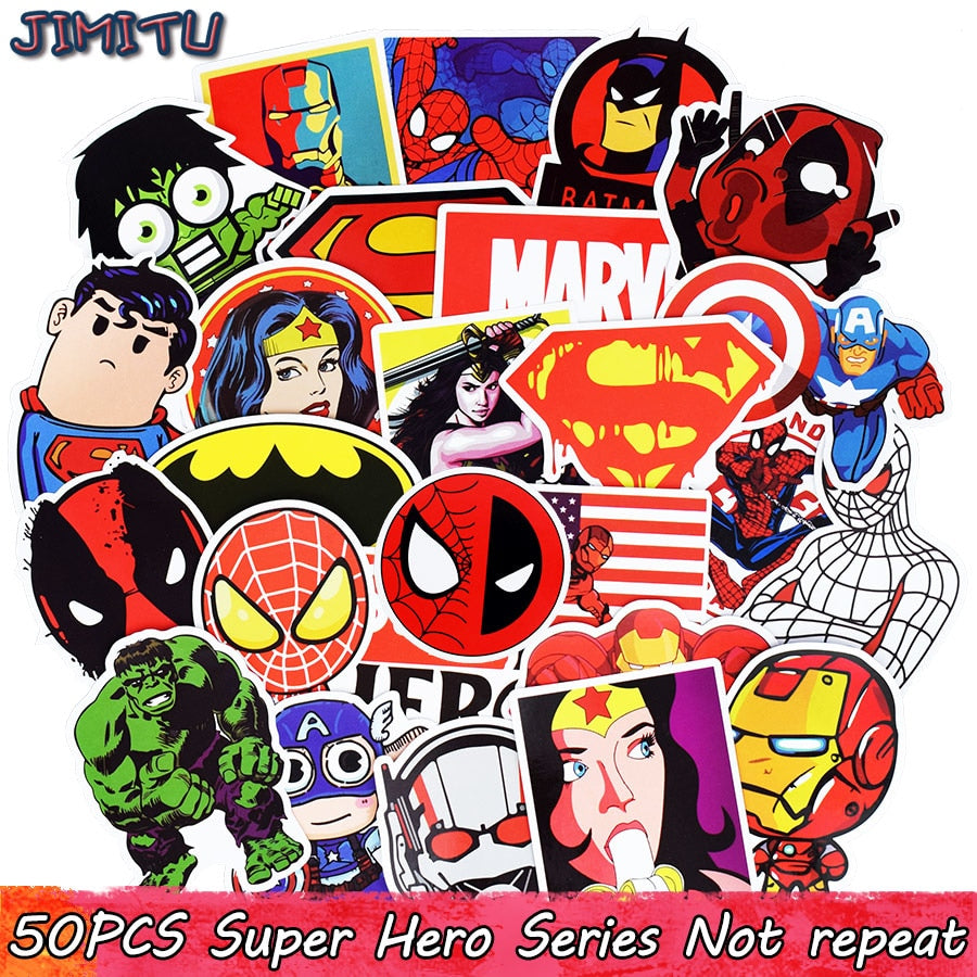 50pcs Mixed Super Hero Stickers Funny JDM Kids Toy Sticker for DIY Luggage Laptop Skateboard Motorcycle Phone Waterproof Sticker