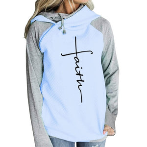 Hoodies Sweatshirts Women Long Sleeve Faith Embroidery Warm Hooded Pullover Tops Plus Size Casual Female Clothes