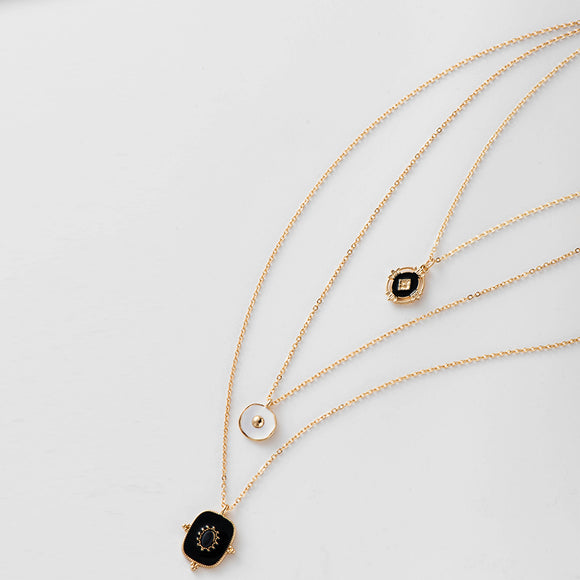 Multi Layered Gold Pendant Necklace