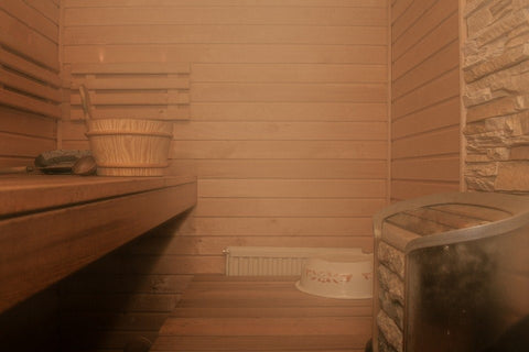 A 5-person sauna installed inside the house.
