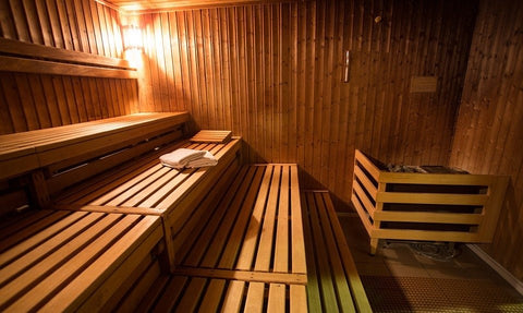 A leisurely, wooden sauna with a relaxing atmosphere