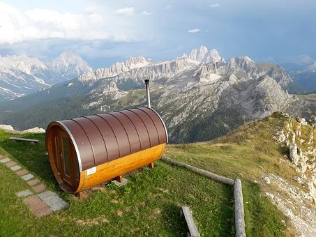 a sauna in the mountains
