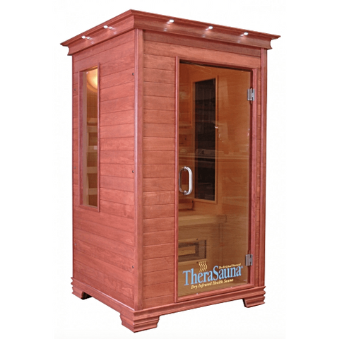 A pre-built sauna that's ready to use.