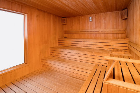 Sauna after being thoroughly cleaned.