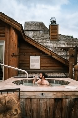 a person in a hot tub