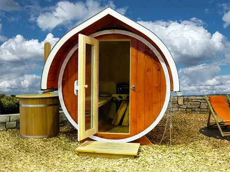 a barrel sauna.