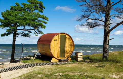 A 5-person sauna installed outside the house.