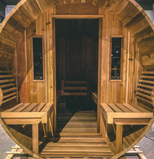 Saunacore Outdoor Barrel Country Living 8 Person Traditional Sauna (BRL6X8)