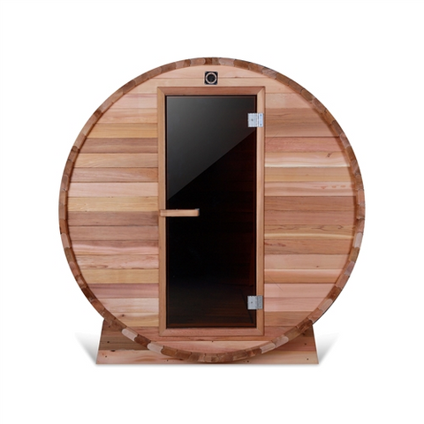 Image of Rustic Western Red Cedar Barrel Sauna - ETL Certified Heater - 4 Person - USA Health and Wellness-- Manzo Pelletier Holdings LLC