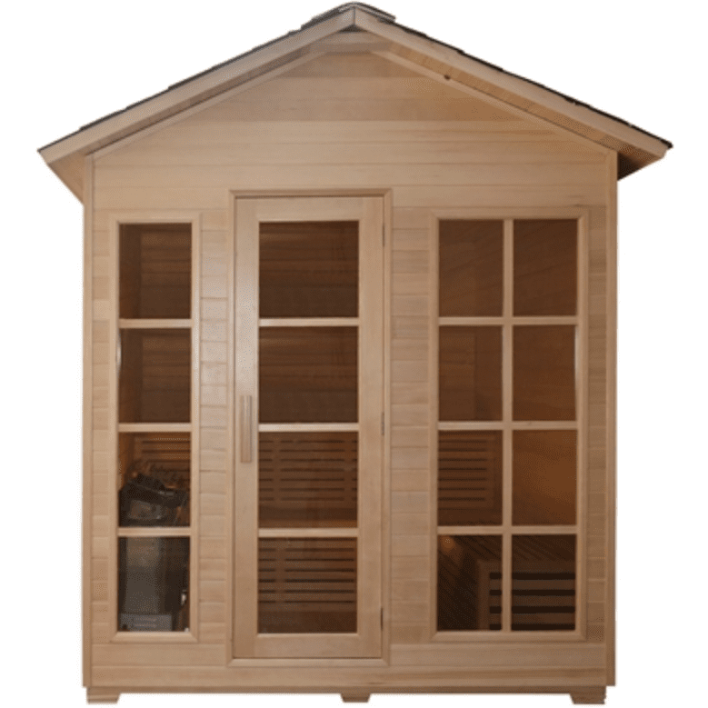Aleko Canadian Hemlock Outdoor and Indoor Wet Dry Sauna 4.5 kW ETL - USA Health and Wellness-- Manzo Pelletier Holdings LLC