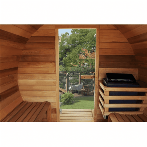 Image of Aleko Red Cedar Barrel Sauna w/ Panoramic View- 5 Person - USA Health and Wellness-- Manzo Pelletier Holdings LLC