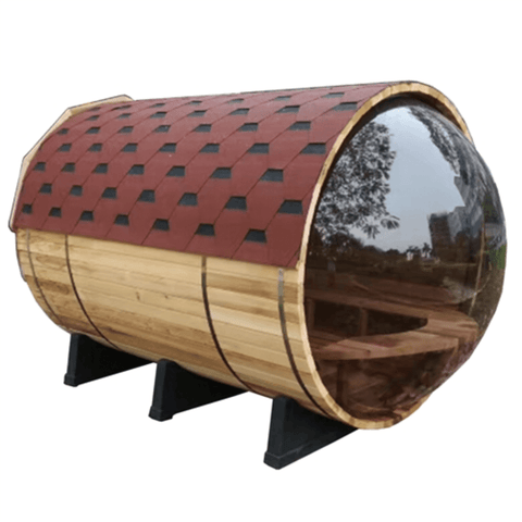 Aleko Red Cedar Barrel Sauna w/ Panoramic View- 7 Person - USA Health and Wellness-- Manzo Pelletier Holdings LLC