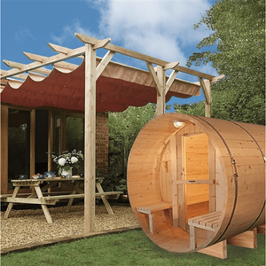 Aleko Barrel Indoor and Outdoor 5 Person Traditional Sauna
