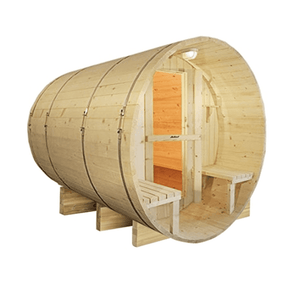 Aleko White Finland Pine Traditional Barrel Sauna- 8 Person - USA Health and Wellness-- Manzo Pelletier Holdings LLC