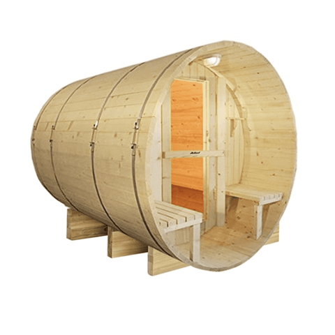 Image of Aleko White Finland Pine Traditional Barrel Sauna- 8 Person - USA Health and Wellness-- Manzo Pelletier Holdings LLC