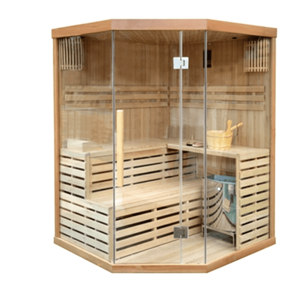 Canadian Hemlock Indoor Wet Dry Sauna - 4 Person - 4.5 kW ETL Certified Heater - USA Health and Wellness-- Manzo Pelletier Holdings LLC