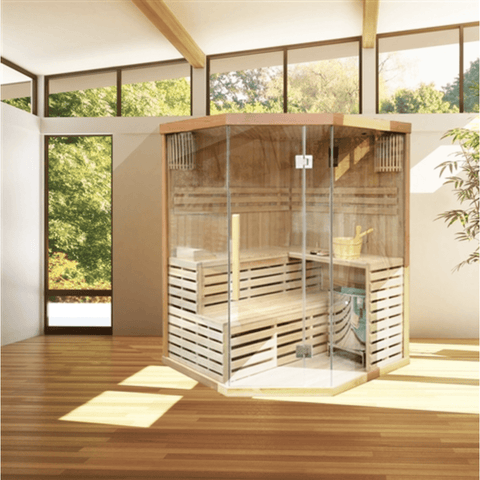 Image of Canadian Hemlock Indoor Wet Dry Sauna - 4 Person - 4.5 kW ETL Certified Heater - USA Health and Wellness-- Manzo Pelletier Holdings LLC