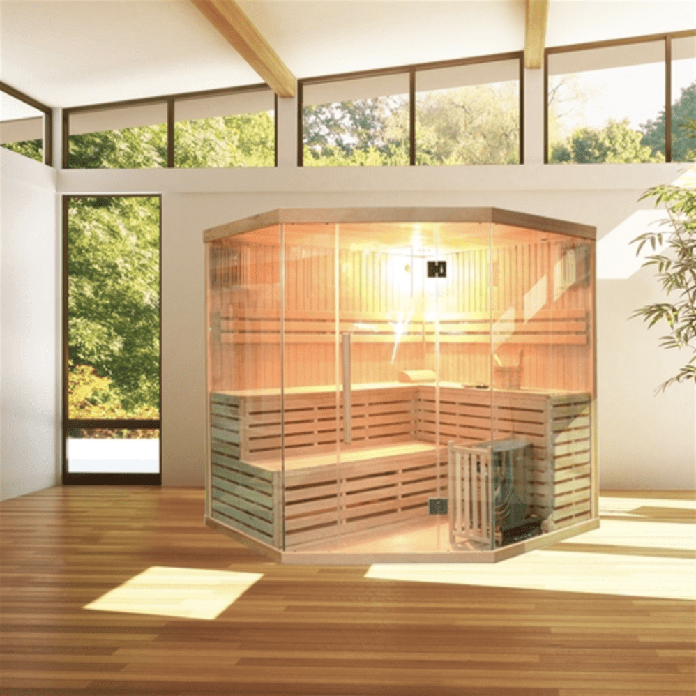 Canadian Hemlock Indoor Wet Dry Sauna - 6 kW ETL Certified Heater - 5 to 6 Person - USA Health and Wellness-- Manzo Pelletier Holdings LLC