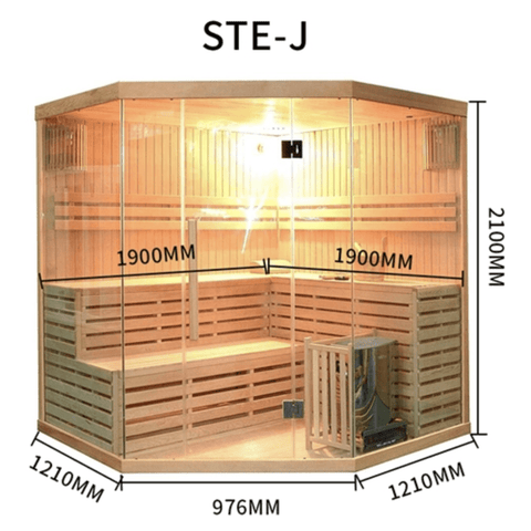 Image of Canadian Hemlock Indoor Wet Dry Sauna - 6 kW ETL Certified Heater - 5 to 6 Person - USA Health and Wellness-- Manzo Pelletier Holdings LLC