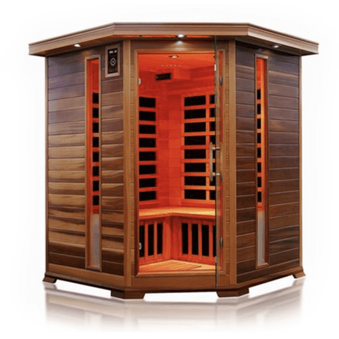 Image of Canadian Red Cedar Indoor Dry Infrared Sauna - 8 Carbon Fiber Heaters - 3 to 4 Person - USA Health and Wellness-- Manzo Pelletier Holdings LLC