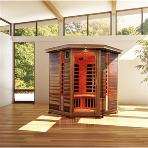 Canadian Red Cedar Indoor Dry Infrared Sauna - 8 Carbon Fiber Heaters - 3 to 4 Person