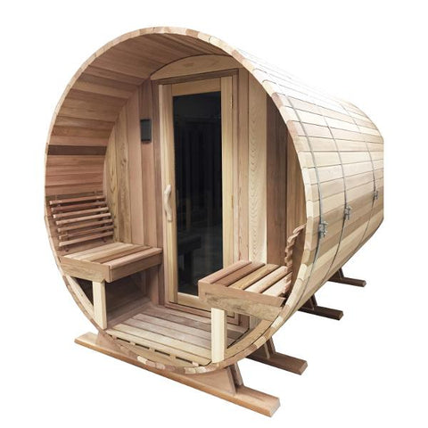 Image of Saunacore Outdoor Barrel Country 6 Person Traditional Sauna (BRL6X6)