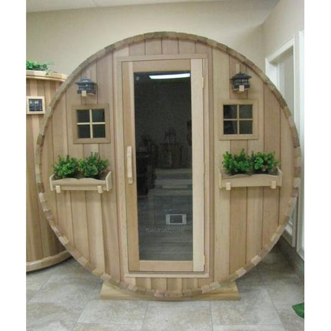 Image of Saunacore Outdoor Barrel Country Living 8 Person Traditional Sauna (BRL6X8)