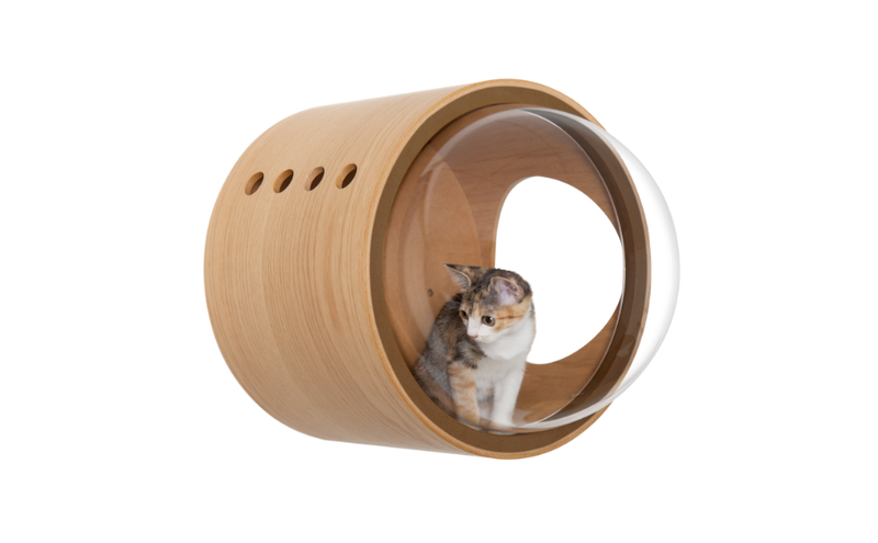 MYZOO-Spaceship Gamma (Oak): Wall Mounted Cat Bed