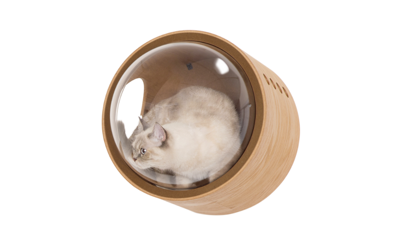 The half-round clear dome extend the inner space for felines to snuggle in it.