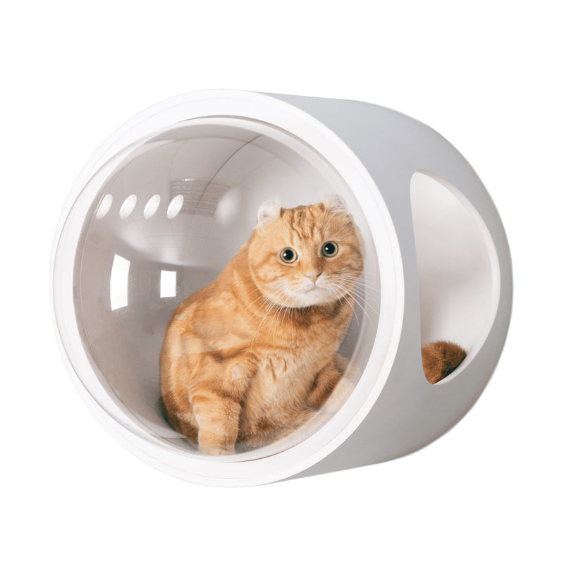 Cat Friendly Furniture, Wall mounted Cat Bed, Cat House, Cat Nest, Cat Cave, Wood, White, Warm
