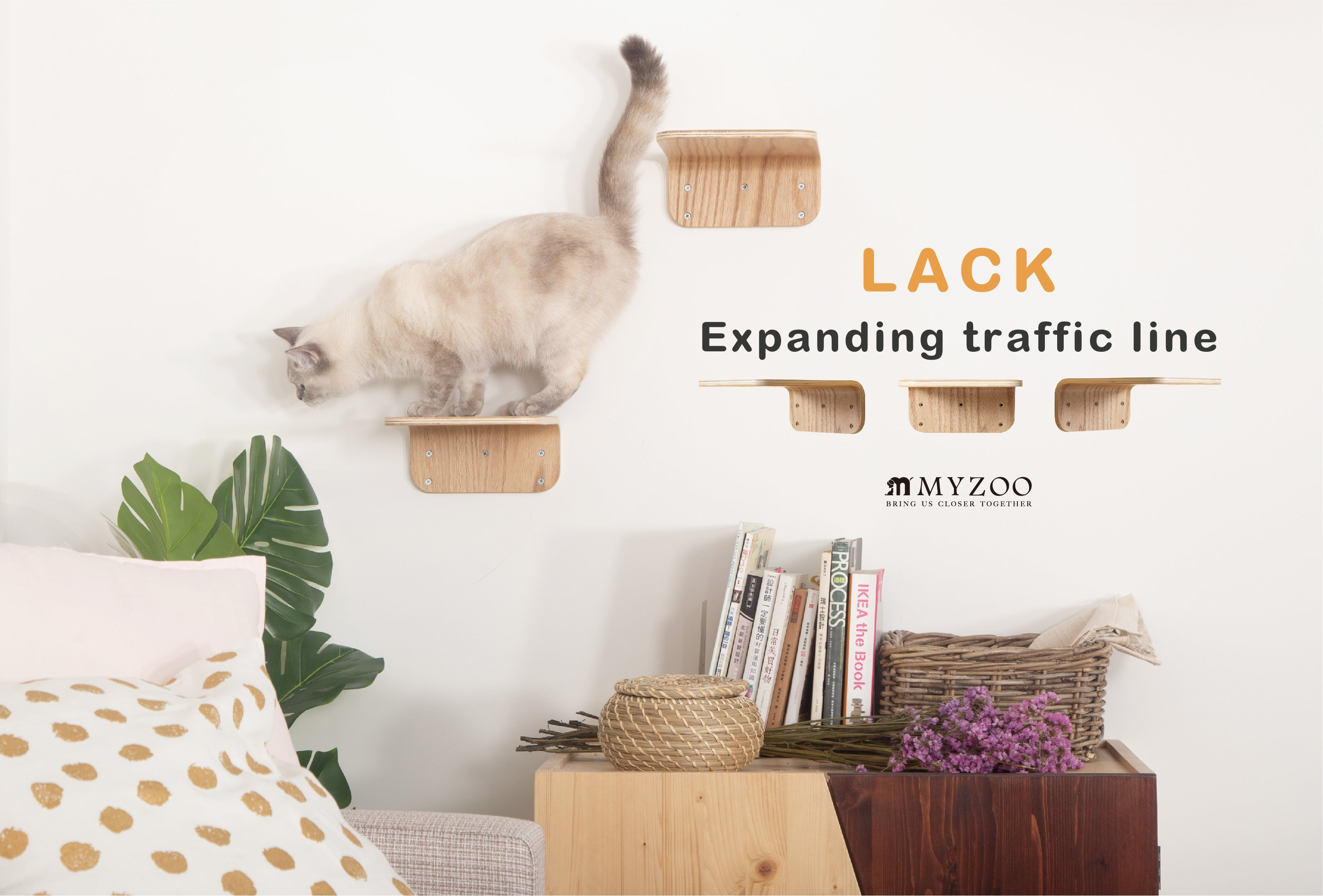 (BACK-ORDER)MYZOO-Lack (M, 2pcs): Wall Mounted Cat Shelves