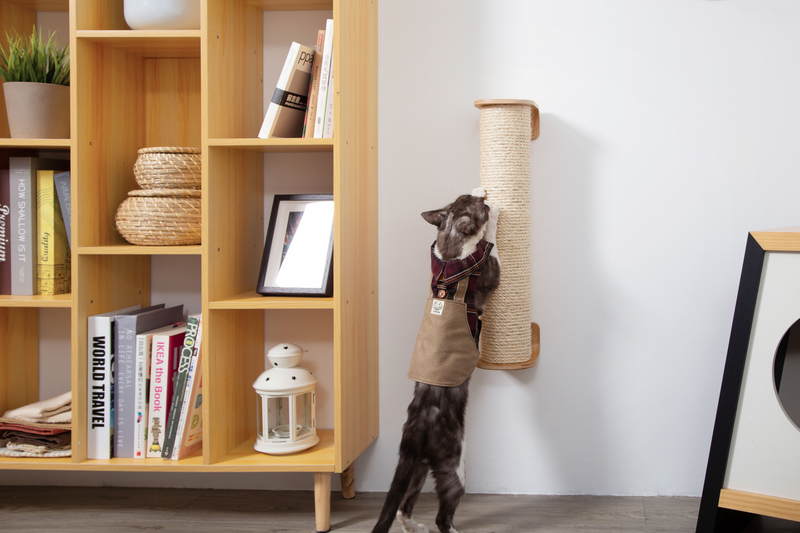 A black and white cat is scratching on a wall-mounted cat scratcher