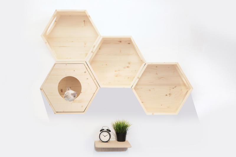 A white cat sleeps in a hexagon wooden furniture which is mounted on the wall