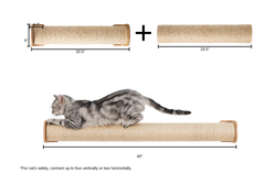 MYZOO Cylinder Bundle (One Extra for Replacement or Extension): Wall Mounted Cat Shelf & Floor Standing Sisal Rope Cat Scratcher