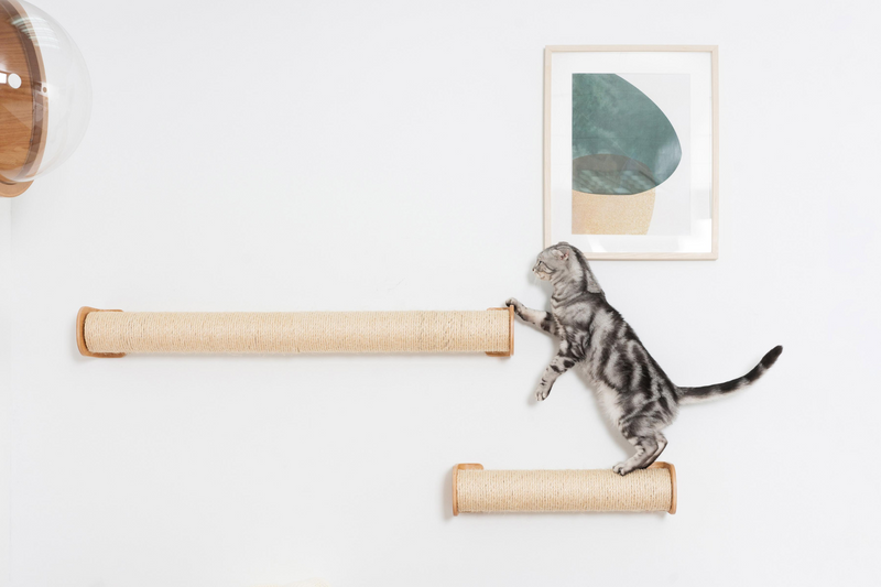 Cylinder can be hung up on the wall and create a scratch-able cat walkway