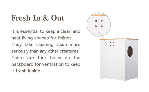 Fresh In & Out It is essential to keep a clean and neat living spaces for felines. They take cleaning issue more seriously than any other creatures. There are four holes on the backboard for ventilation to keep it fresh inside.