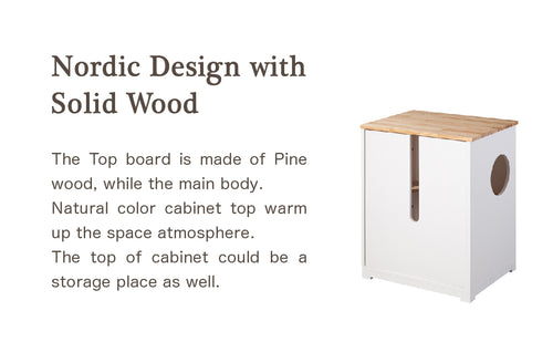 The Top board is made of Pine wood, while the main body  Natural color cabinet top warm up the space atmosphere. The top of cabinet could be a storage place as well.