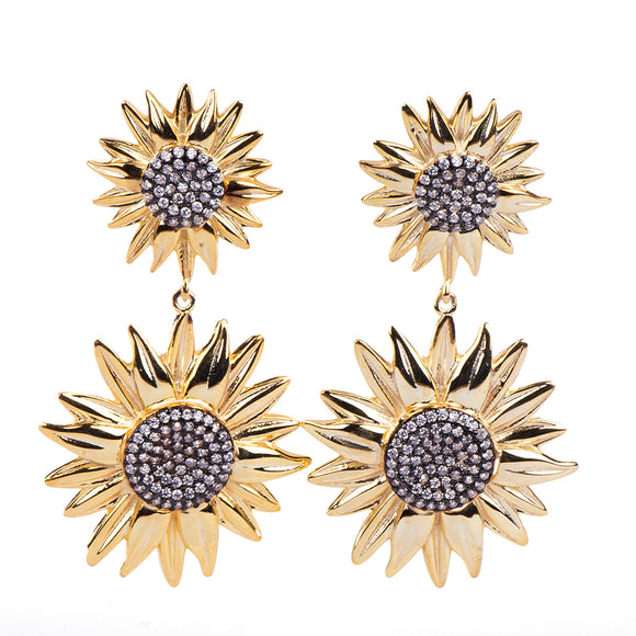 Gold Flower Earring Earring - Harrem Jewelry