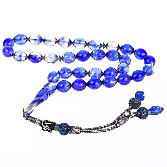 Blue Squeezing Amber Rosary Rosary - Harrem Jewelry