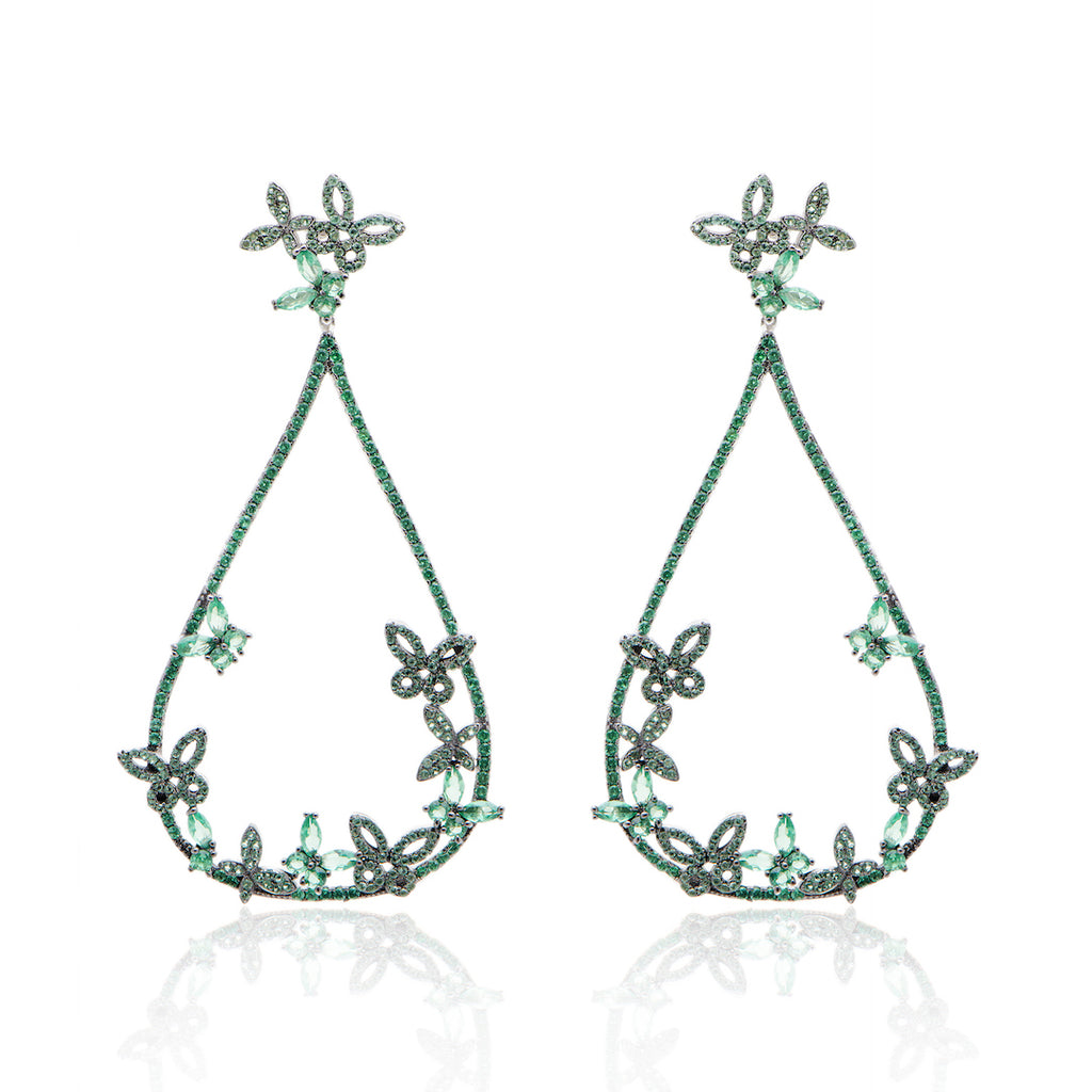 'BORBOLETA' Emerald Micro Pavé & Crystals Statement Earrings | EARRINGS | BECKY JEWELRY