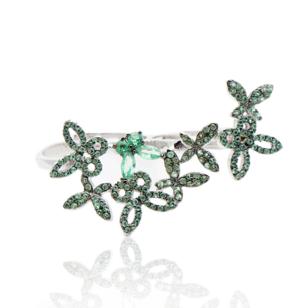 'BORBOLETA' Emerald Micro Pavé & Crystals Statement Double Ring RINGS BECKY JEWELRY