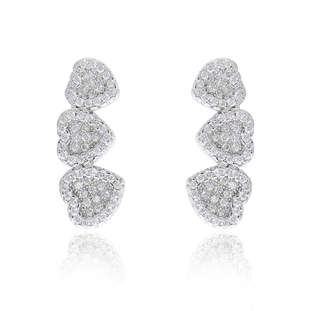 'CUORE' Fully Studded Hearts DiamondB Pavé Ear Cuff | EARRINGS | BECKY THE LABEL - luxury accessories & jewelry brand