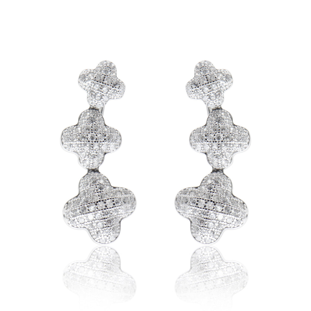'ALI' Fully Studded Clovers DiamondB Pavé Ear Cuff | EARRINGS | BECKY THE LABEL - luxury accessories & jewelry brand