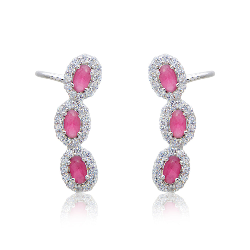 'MIA' Oval-Cut Ruby & DiamondB Ear Cuff | EARRINGS | BECKY THE LABEL - luxury accessories & jewelry brand