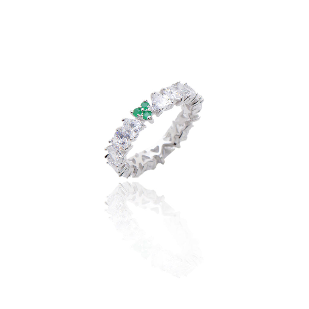 'LEONA' Heart-Cut DiamondB & Emerald Band Ring | BAND RINGS | BECKY JEWELRY