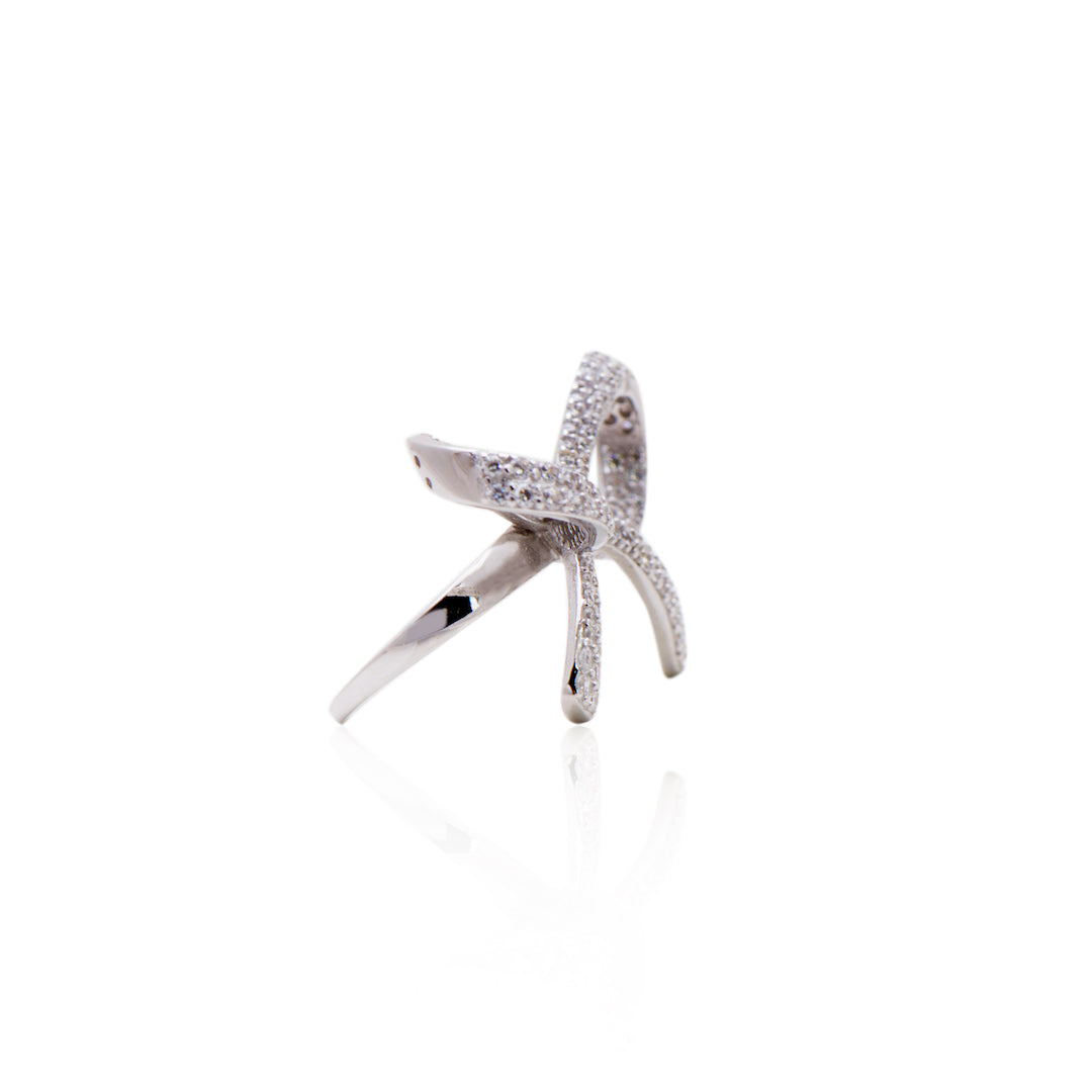 'REBECCA' Fully Studded Micro Diamond Pavé Bow Statement Ring | RINGS | BECKY JEWELRY