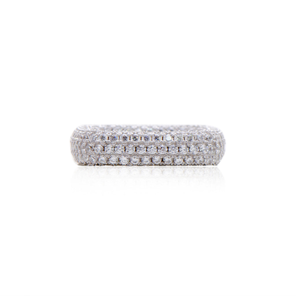 'LOUISE' Fully Studded DiamondB S Band Ring | BAND RINGS | BECKY THE LABEL - luxury accessories & jewelry brand